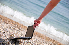 Netbook At The Beach Stock Image