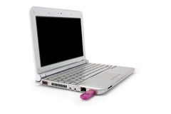 Netbook with black monitor and usb Stock Images