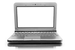 Netbook com monitor branco Foto de Stock Royalty Free