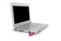 Netbook com monitor e o usb pretos Imagens de Stock
