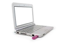 Netbook con il monitor ed il usb bianchi Fotografia Stock