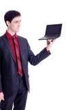 Netbook del nero della stretta dell'uomo d'affari Fotografia Stock Libera da Diritti