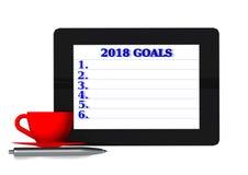 netbook do café de 2018 objetivos - rendição 3d Imagens de Stock