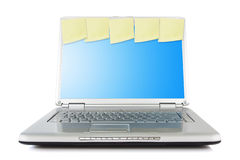 Netbook with reminder notes Royalty Free Stock Photos