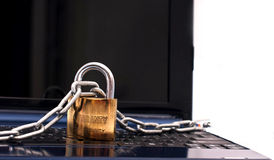 Netbook security. Concept on white background Royalty Free Stock Photos