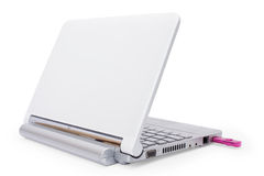 Netbook and USB key Royalty Free Stock Photos