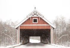 Netcher Road Covered Bridge. In winter. Ashtabula County, Ohio Stock Photos