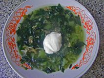 Netel groene soep in een rustieke kom, keuken van dorp stock fotografie