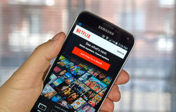 Netflix app on android cell phone royalty free stock photography