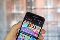 Netflix app on android cell phone royalty free stock images