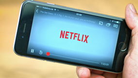 Netflix App on apple iPhone stock video footage