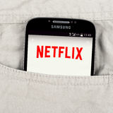 Netflix application on the Samsung galaxy display Royalty Free Stock Photography