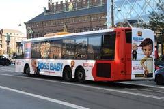 NETFLIX BILBOARD BOSS BABY ON DANISH PUBLIC BUS. Copenhagen/Denmark 19.October 2018.. Netflix boss baby billboard on danish public bus transportation in danish stock photos