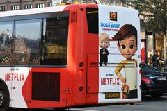 NETFLIX BILBOARD BOSS BABY ON DANISH PUBLIC BUS. Copenhagen/Denmark 19.October 2018.. Netflix boss baby billboard on danish public bus transportation in danish stock images