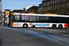 NETFLIX BILBOARD BOSS BABY ON DANISH PUBLIC BUS. Copenhagen/Denmark 19.October 2018.. Netflix boss baby billboard on danish public bus transportation in danish stock image