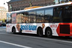 NETFLIX BILBOARD BOSS BABY ON DANISH PUBLIC BUS. Copenhagen/Denmark 19.October 2018.. Netflix boss baby billboard on danish public bus transportation in danish stock photo