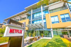 Netflix Campus California. Los Gatos, California, United States - August 12, 2018: The new campus of Netflix HQ made of self-darkening intelligent glass for royalty free stock photos