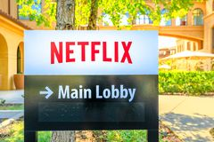 Netflix HQ Logo. Los Gatos, California, United States - August 12, 2018: Netflix Logo at spanish-style buildings of Netflix, headquarters of streaming giant in stock photos