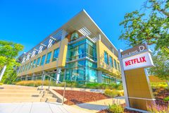 Netflix Logo California. Los Gatos, California, United States - August 12, 2018: Netflix Logo at Netflix Headquarters in Silicon Valley, Ca. Netflix is an royalty free stock image