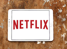 Netflix logo. Logo of netflix on samsung tablet.Netflix is an american global on-demand internet streaming media provider Royalty Free Stock Photography