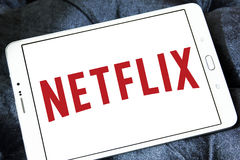 Netflix logo. Logo of netflix on samsung tablet. Netflix is an american global on-demand internet streaming media provider Stock Photo