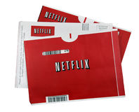 Netflix movies. A studio shot of 3 Netflix movie sleeves. Netflix is the world's leading internet subscription service for movies and TV shows Royalty Free Stock Images