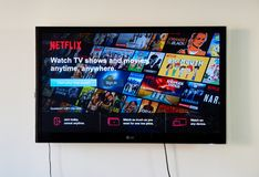 Netflix Sign In page on LG TV. MONTREAL, CANADA - NOVEMBER 15, 2017: Netflix Sign In and free trial page on LG TV. Netflix is an American entertainment company royalty free stock photography