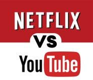 Netflix VS YOUTUBE Logo Editorial Vector vektor illustrationer