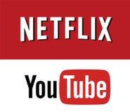 Netflix VS YOUTUBE Logo Editorial Vector royaltyfri illustrationer