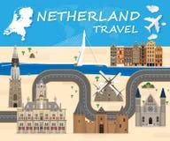 Netherland ταξιδιού υποβάθρου ταξίδι και ταξίδι ορόσημων σφαιρικό Στοκ φωτογραφίες με δικαίωμα ελεύθερης χρήσης