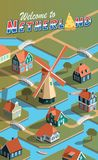 Netherland bylandskap vektor illustrationer