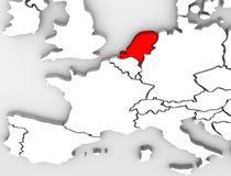 Netherland Country Abstract 3D Map Europe Continent. An abstract 3d map of Europe the continent and several countries, with the Netherlands highlighted in red Royalty Free Stock Photos