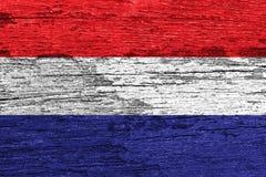 Netherland flag. Painted on old wood background Royalty Free Stock Photo