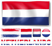 Netherland flag in different designs Royalty Free Stock Images