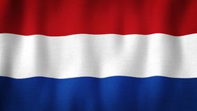 Netherland flag waving in the wind. Closeup of realistic Dutch flag with highly detailed fabric texture