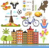Netherland flat icons design travel concept. Symbols travel set and europe culture . vector illustrations with Netherlands famous landmarks Stock Images