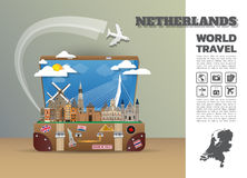 Netherland Landmark Global Travel And Journey Infographic luggag. E.3D Design Vector Template.vector/illustration. can be used for your business, advertisement Royalty Free Stock Photography