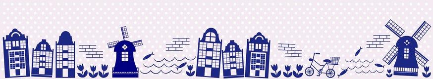 Netherland panoramique illustration de vecteur
