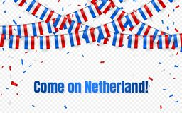 Netherland señala la guirnalda por medio de una bandera en fondo transparente con confeti Cuelgue el empavesado para la bandera d stock de ilustración