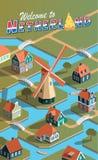 Netherland village landscape. Illustration Royalty Free Stock Photography