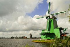 Netherland windmill. Scenery Royalty Free Stock Image