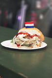 Netherlandish or dutch fish burger sandwich with fresh hering, o Stock Photo