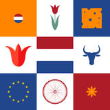 netherlands Σύνολο εικονιδίων Στοκ Εικόνα