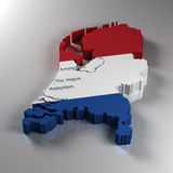 Netherlands. 3D Map of the Netherlands with the most important cities Stock Photography