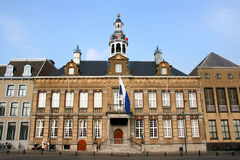 Netherlands. Beautiful town hall of Roermond, Limburg, Netherlands. The top features dancing figures and bells Royalty Free Stock Photo