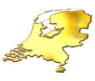 Netherlands 3d Golden Map. Isolated in white Royalty Free Stock Image