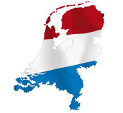 Netherlands. Vector illustration of a map and flag from Netherlands