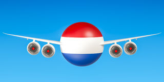 Netherlands airlines and flying& x27;s, 3D rendering Royalty Free Stock Photo