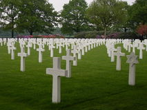 Netherlands American Cemetery. A World War II military cemetery in the Netherlands with 8,301 headstones set in long curves Royalty Free Stock Photo