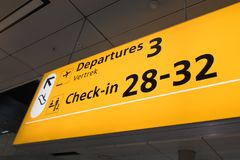 International airport Schiphol with modern arrivals and departures signs in English. NETHERLANDS - AMSTERDAM - SEPTEMBER 7, 2018: International airport Schiphol royalty free stock images